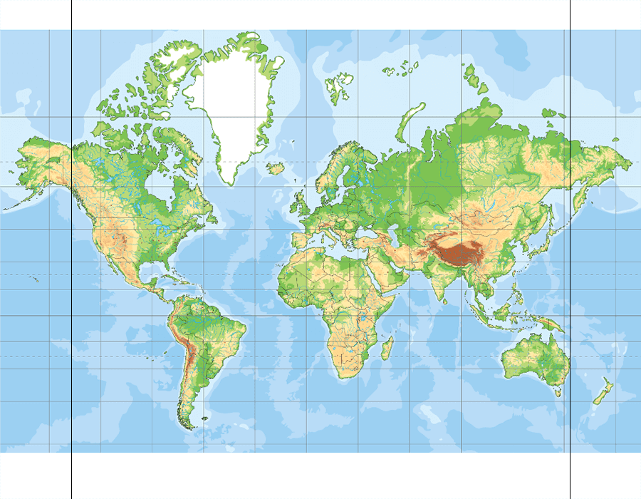 World physical map 1 (blank) - Map Quiz Game