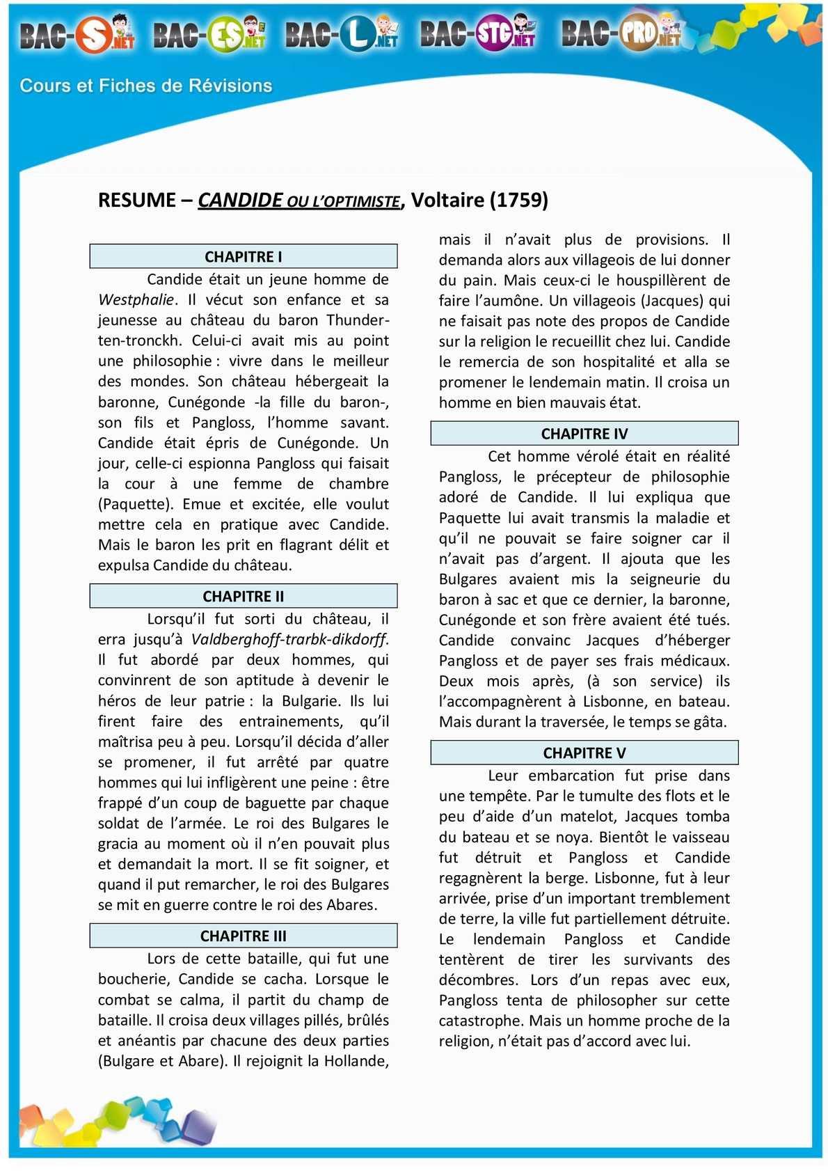 candide 2 bac resume arabe