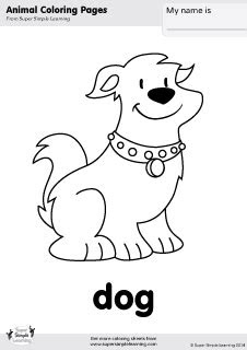 dog coloring page  super simple learning tons