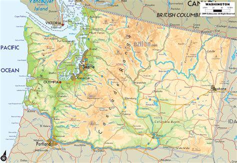 physical map  washington ezilon maps