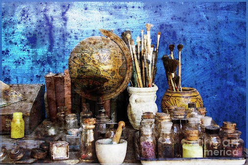 Vintage painter's desk • #print by Amy Sorvillo • #gift #artist #homedecor #wallart #artstudio #art ...