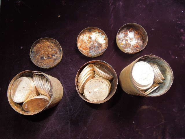 Image: Cans filled with 19th Century gold cions