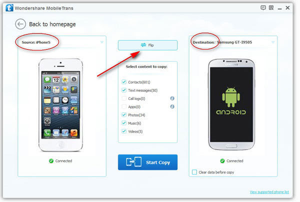 Copy Text Messages from iPhone to Galaxy S6/S5/S7/Note 5