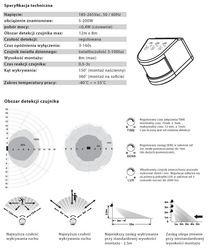 Naświetlacz Led 230v 10w 850lm Biały Dzienny Z Mikrofalowym