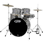 PDP by DW Encore 5-Piece Drum Kit with Hardware and Cymbals Silver