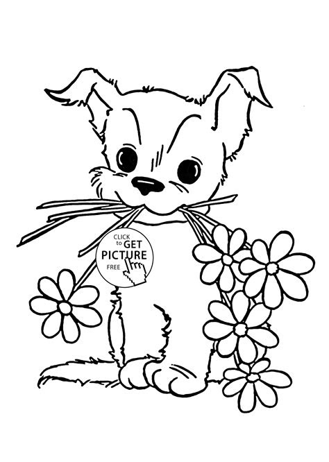 cute puppy  flower coloring page  kids animal