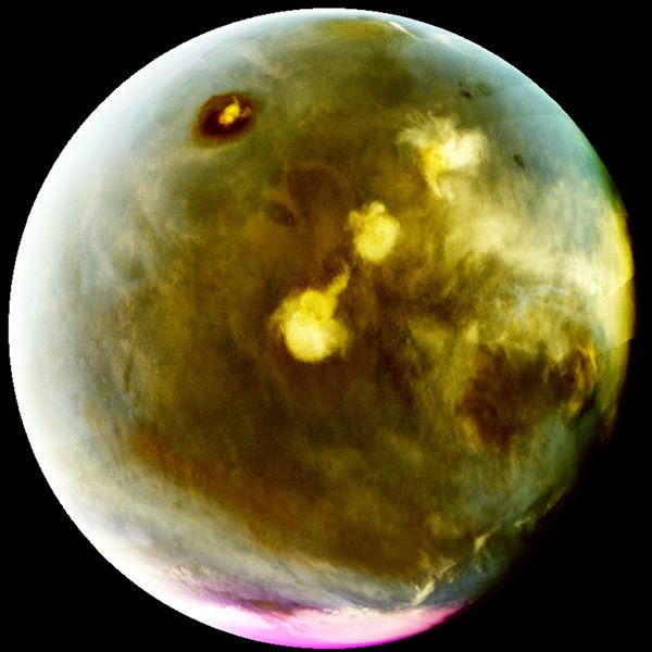 An ultraviolet image of Mars that was taken by NASA's MAVEN spacecraft on July 9-10, 2016.
