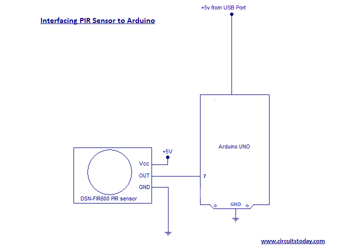 How to Interface PIR Sensor to Arduino - with Circuit Diagram and Program