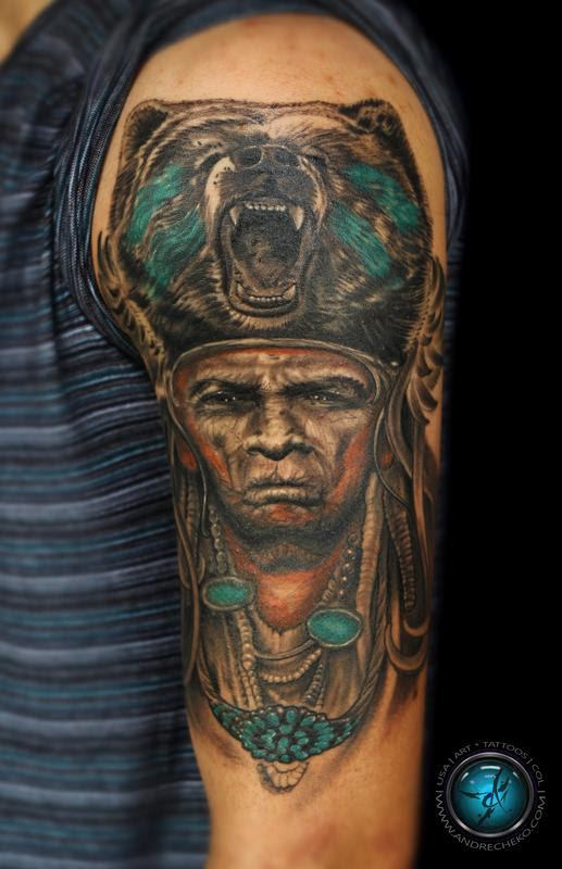 Indian Native American Half Sleeve Mix Color Tattoo By Andre Cheko