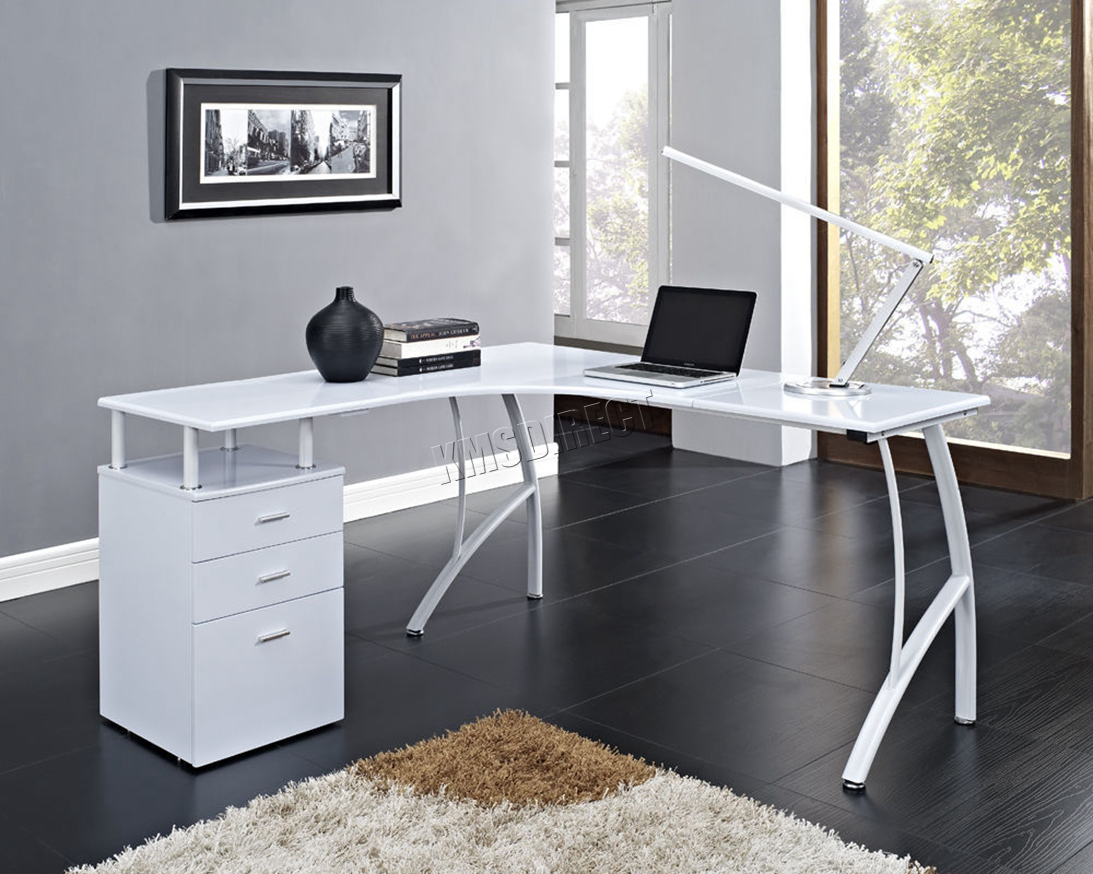 FoxHunter LShaped Corner Computer Desk PC Table Home Office Study CD04 White