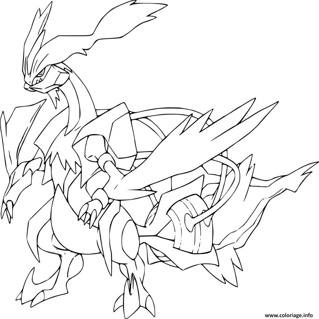 Coloriage Kyurem Blanc Pokemon Legendaire Jecoloriecom