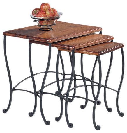 Rustic Oak 3-piece Nesting Table Set - Contemporary ...