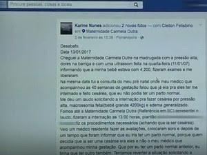 Casal relatou a morte da filha em rede social e teve milhares de compartilhamentos (Foto: Reprodução/RBS TV)