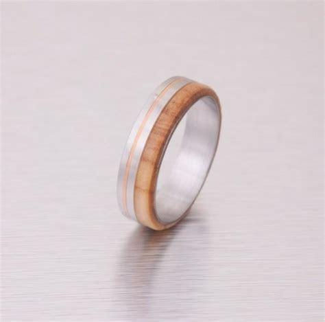 Wood Wedding Ring Titanium Wedding Band Men's Engagement
