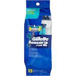 Gillette Sensor2 Plus Razors, Disposable, Ultragrip, Lubrastrip, Pivot - 15 razors