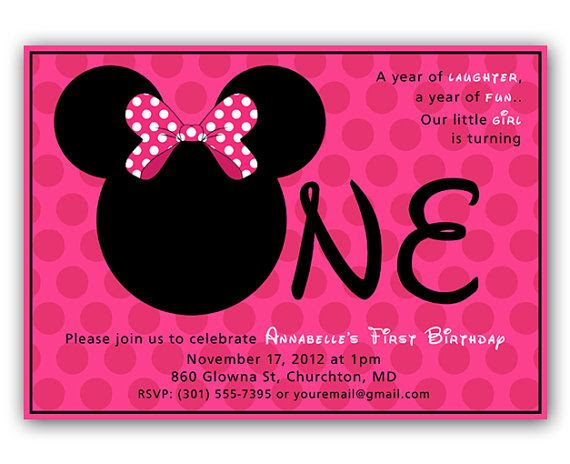 INSTANT DOWNLOAD - Editable - Minnie Mouse Inspired First Birthday ...
