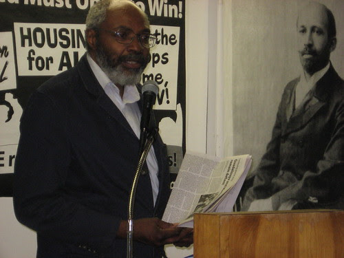 Abayomi Azikiwe, editor of the Pan-African News Wire, addressing an African American History Month forum in Detroit on February 28, 2009. (Photo: Cheryl LaBash) by Pan-African News Wire File Photos