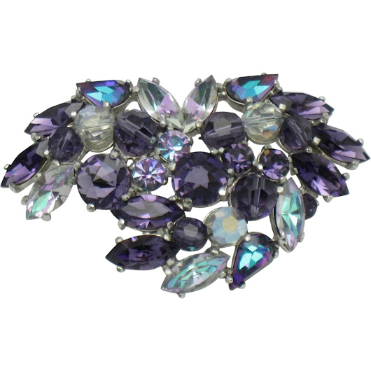 Signed SCHIAPARELLI Purple Vitrail Rhinestone Brooch Pin Gorgeous