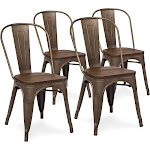 Best Choice Products Industrial Distressed Metal Dining Chairs with Wood Seat, Copper Bronze - 4 pack