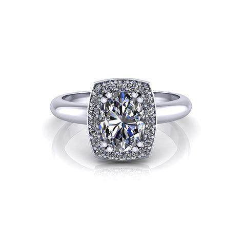 Square Halo Oval Engagement Ring   Jewelry Designs