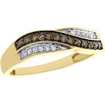 10K Yellow Gold Brown Diamond Wedding Band Ladies Bypass Anniversary Ring 1/4 Ct