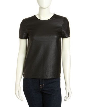 French Connection Athena Faux Leather Top