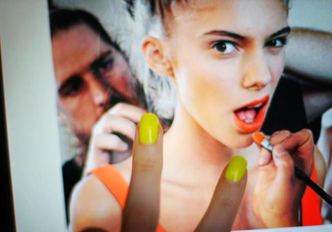 Neon Nail Polish, Orange lipstick, Fendi, Tumblr