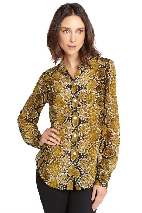Fifteen-Twenty Snake Print Silk Blouse