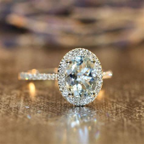 Diamond and Aquamarine Engagement Ring in 14k White Gold