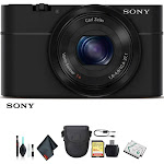 Sony Cyber-shot DSC-RX100 Camera DSCRX100/B With Soft Bag, Additional Battery, 64GB Memory Card, Card Reader , Plus Essential Accessories