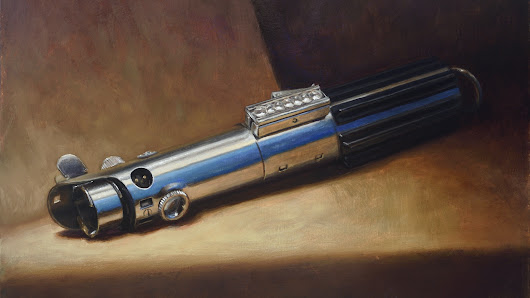 Traditional oil paintings of Star Wars Lightsabers