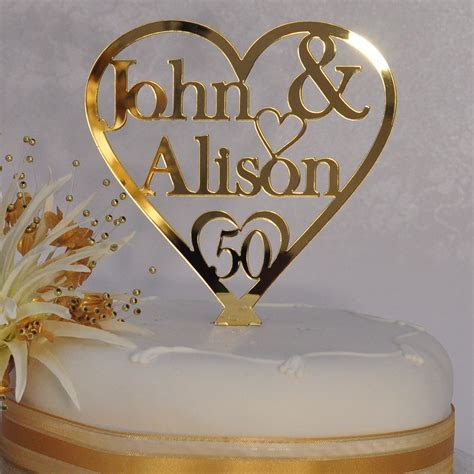 Personalised Names   Heart Cake Topper   50th Golden