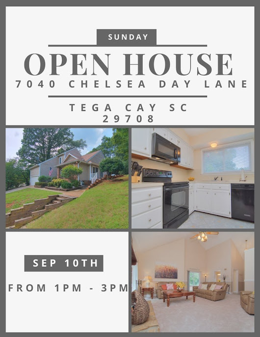 SUNDAY OPEN HOUSE ~ 9/10 FROM 1-3 ~ 7040 Chelsea Day Lane, Tega Cay SC 29708 ~ $262,500 • Homes Fort Mill and Homes Tega Cay