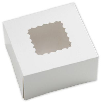 White Windowed Bakery Boxes, 1 Piece, 6 x 6 x 3'