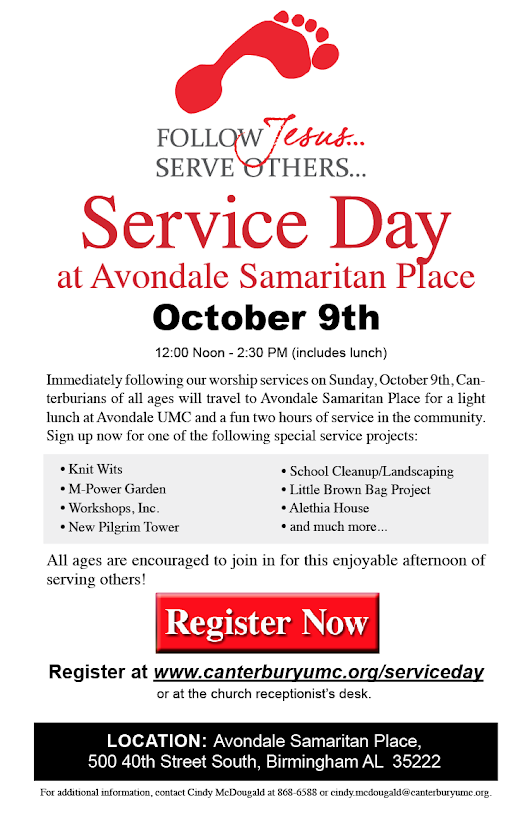 Service Day at Avondale October 9th! Register Now