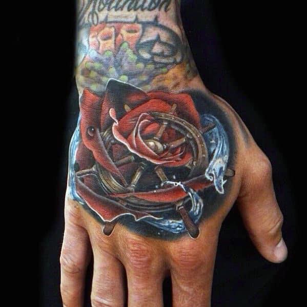 Tatuagens de mão rosa para homens