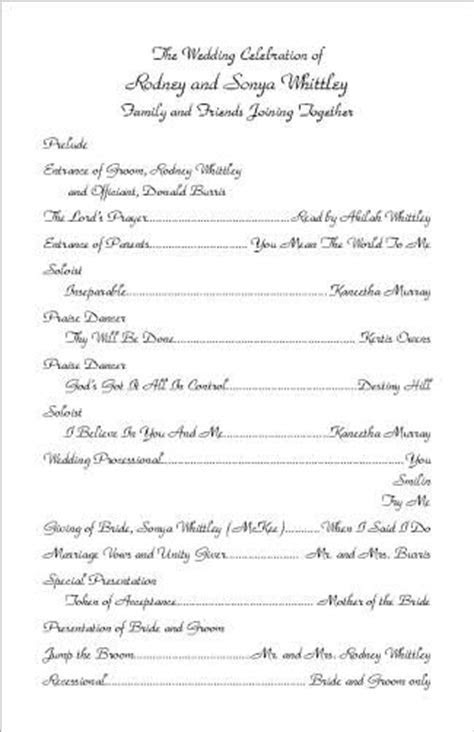 FREE Examples of Wedding Program Wordings and Layouts from