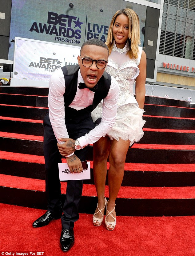 Playful: Angela's co-host Bow Wow hammed it up for the cameras during the red carpet preshow