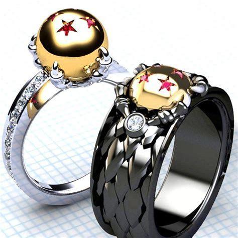 These unique Dragon Ball rings each contain diamond cut