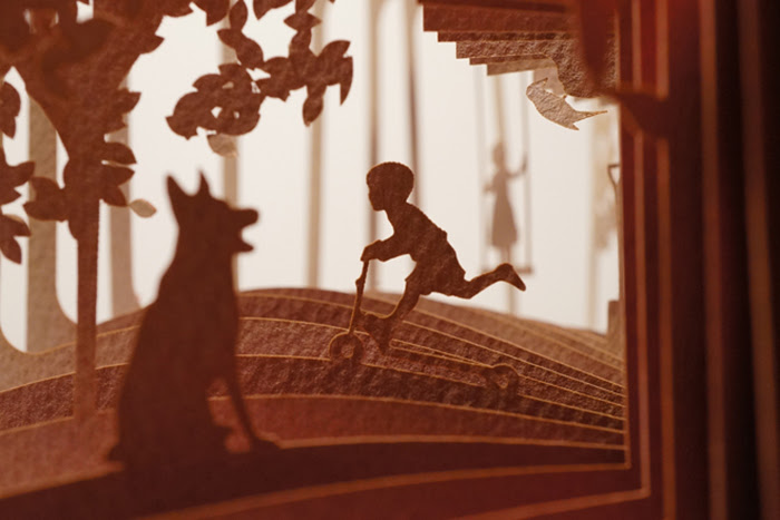 360° Visual Stories Cut into Paper Books by Yusuke Oono silhouettes paper illustration books