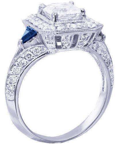 Diamond and Sapphire Engagement Ring   eBay