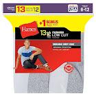 Hanes Men's Cushion Low Cut Socks, White