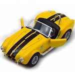 1965 Shelby Cobra 427 S/C Convertible, Yellow - Kinsmart 5322/4D - 1/32 scale Diecast Model Toy Car