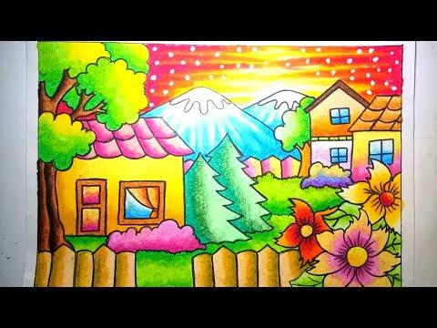How To Draw Cara Mewarnai Gradasi Crayon Oilpastel Menjaga