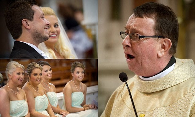 Father Ray Kelly sang Hallelujah at the wedding of Chris and Leah O'Kane