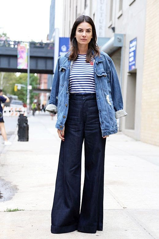Le Fashion Blog Leila Yavari Comme Des Garcons Striped Tee Oversize Denim Jacket Wide Leg Jeans For Fall Via The Thread