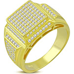 My Daily Styles 925 Sterling Silver Men's Gold-Tone Micro Pave White CZ Stone Square Pyramid-Style Signet Style Ring
