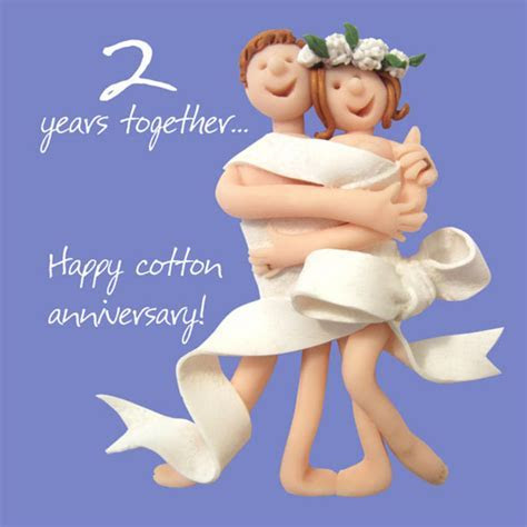 Happy 2nd Cotton Anniversary Greeting Card One Lump or Two