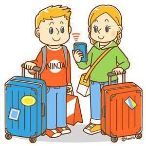 クリップアートスーツケースを持つ外国人おみやげを買う外国