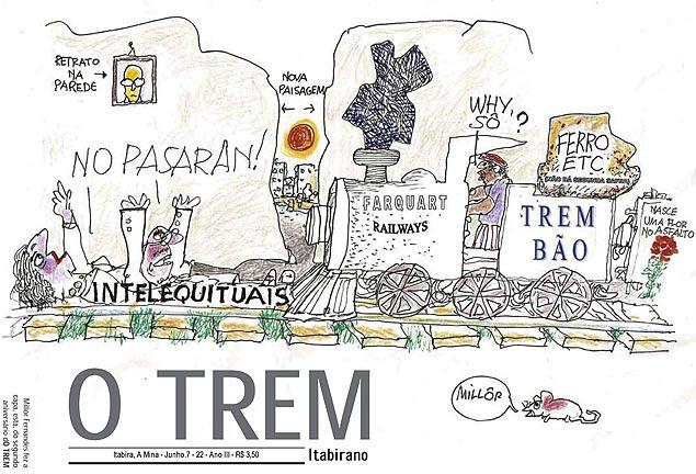 """Ilustração de Millôr para o jornal """"O TREM Itabirano"""""""